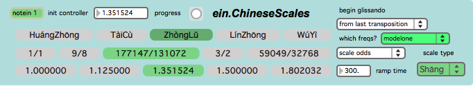 Contains an implementation of ein.ChineseScales, which retunes its input based on precise tuning ratios of the Chinese pentatonic scales in a simple UI.