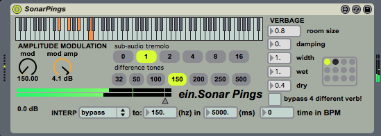 "ein.SonarPings is a simple Max For Live polysynth that combines a resonant lowpass filter, reverb, and amplitude modulation to simulate deep sea sonar. A version of this is used in the Max patch for ""Audiendum Extimate."""