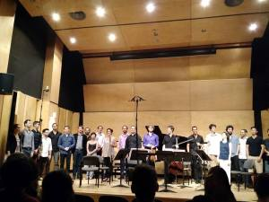 Curtain call with CEME composers and Ensemble Meitar.